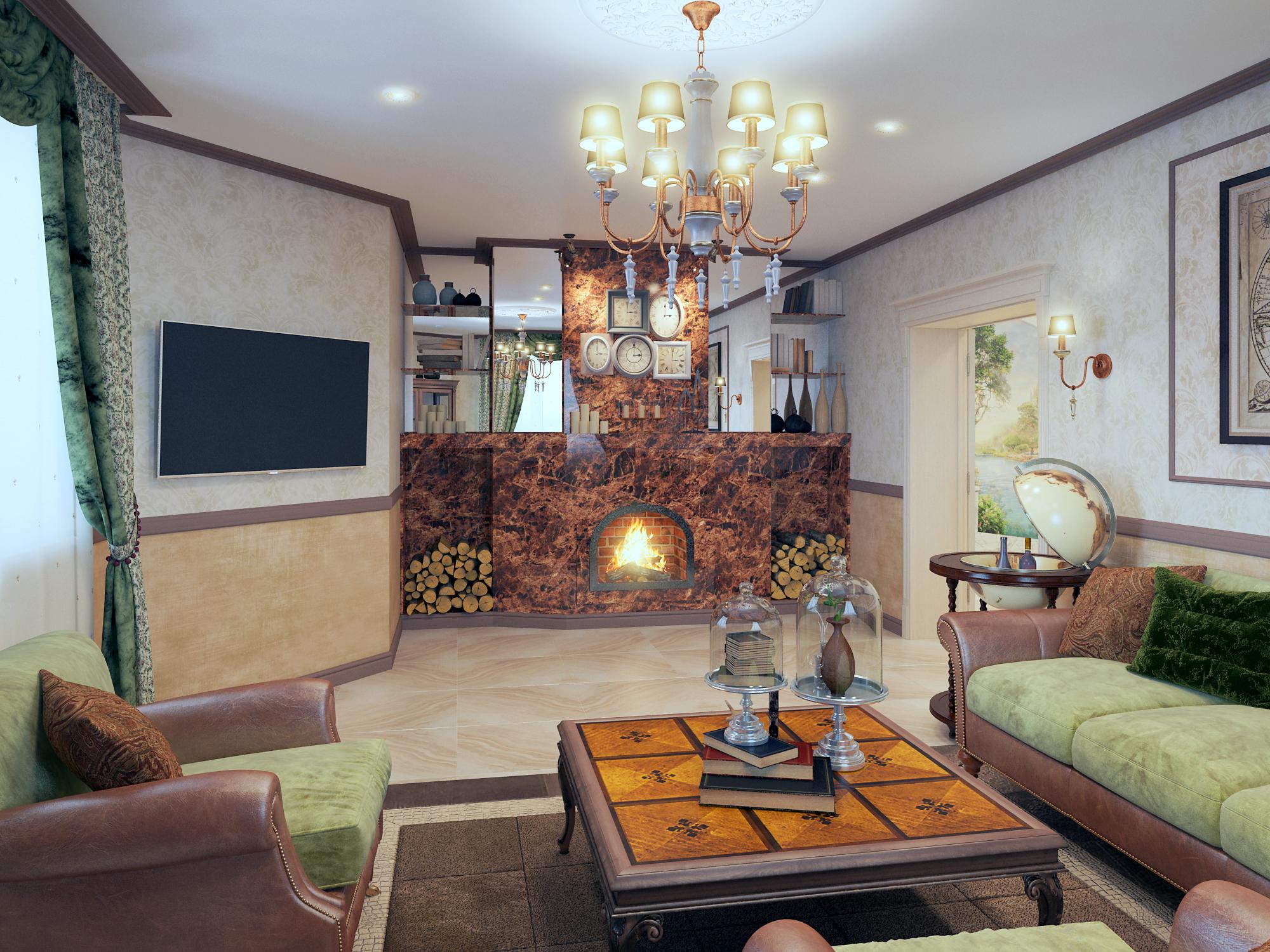 визуализации гостиной в загородном о