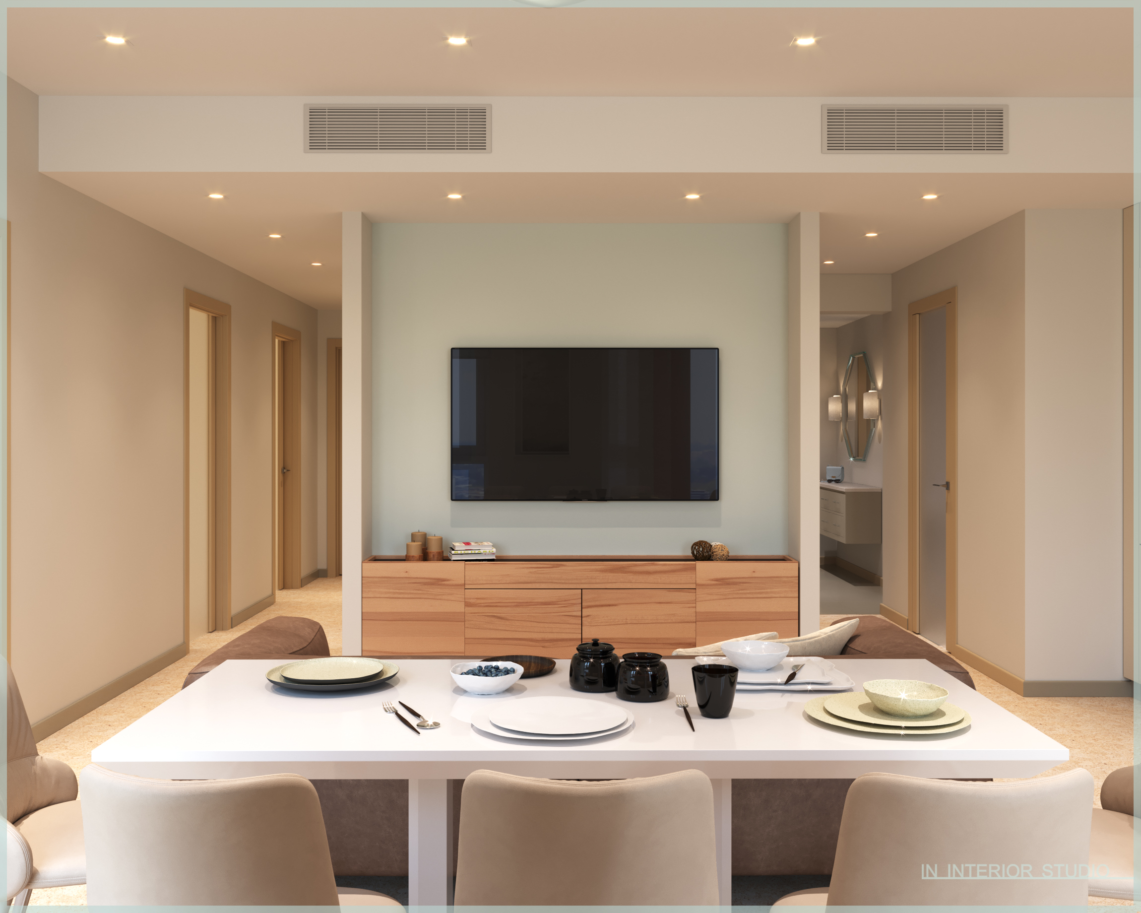 Гостиная, обеденная зона, вид на ТВ