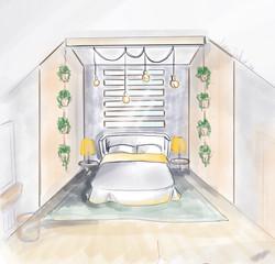 спальная комната на мансардном этаже