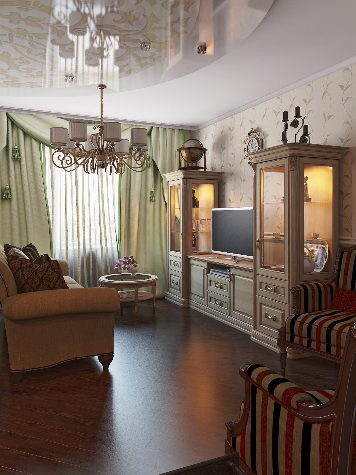 интерьер гостиной в классическом сти