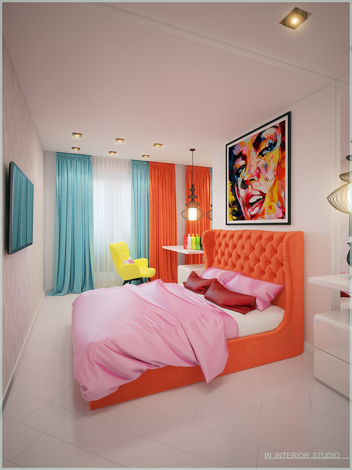 Дизайн спальной комнаты в стиле поп-арт