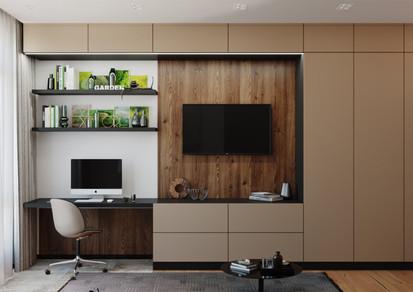 3D визуализация гостиной в современном стиле