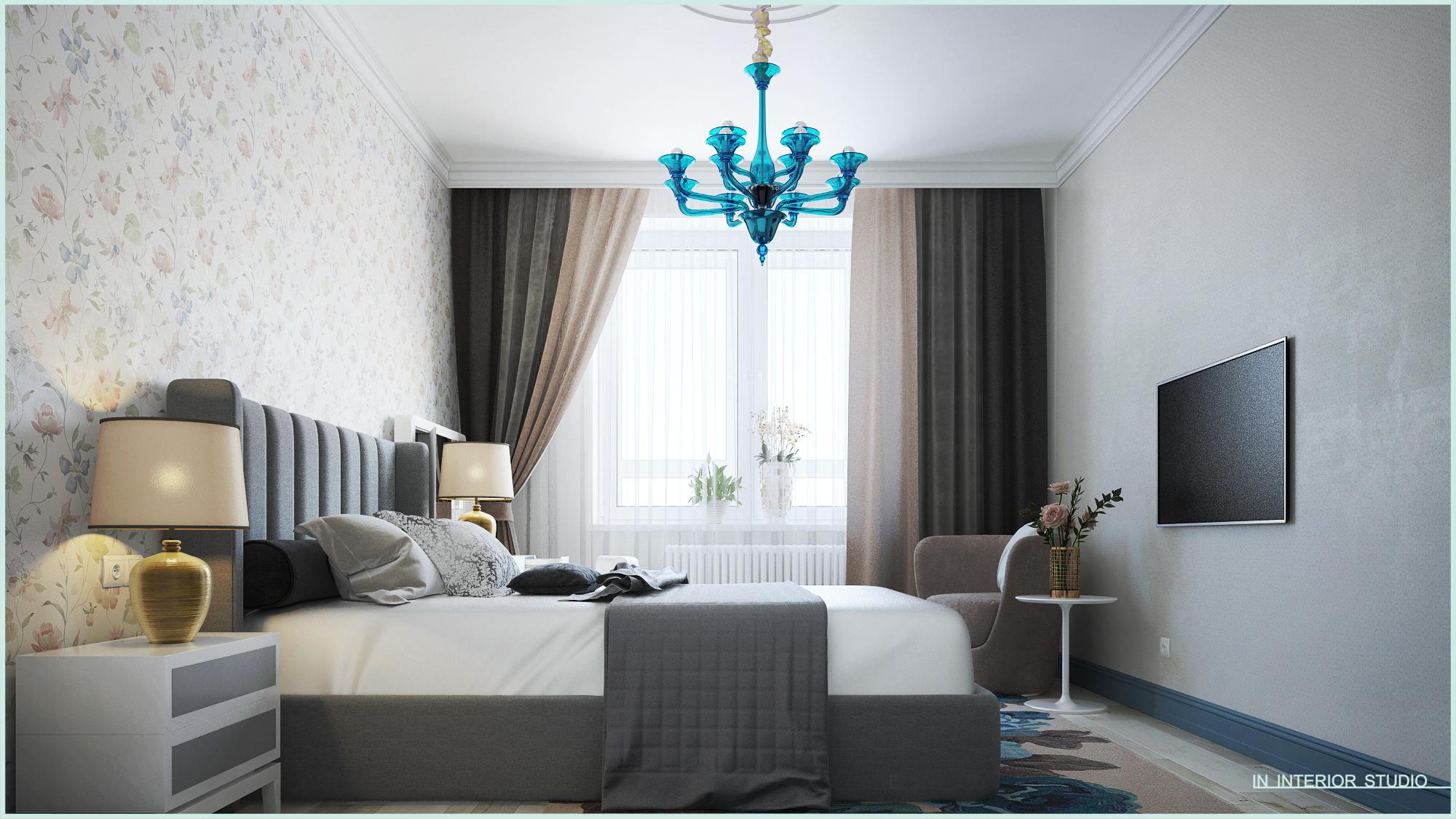 Спальная комната в синих тонах