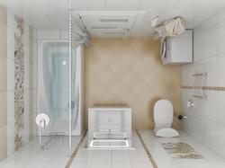 вид сверху 3d эскиза ванной комнаты