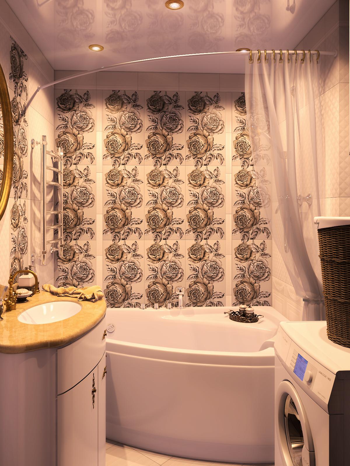 интерьер оригинальной ванной комнаты