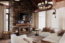 Интерьер в стиле Шале - гостиная, каминная зона