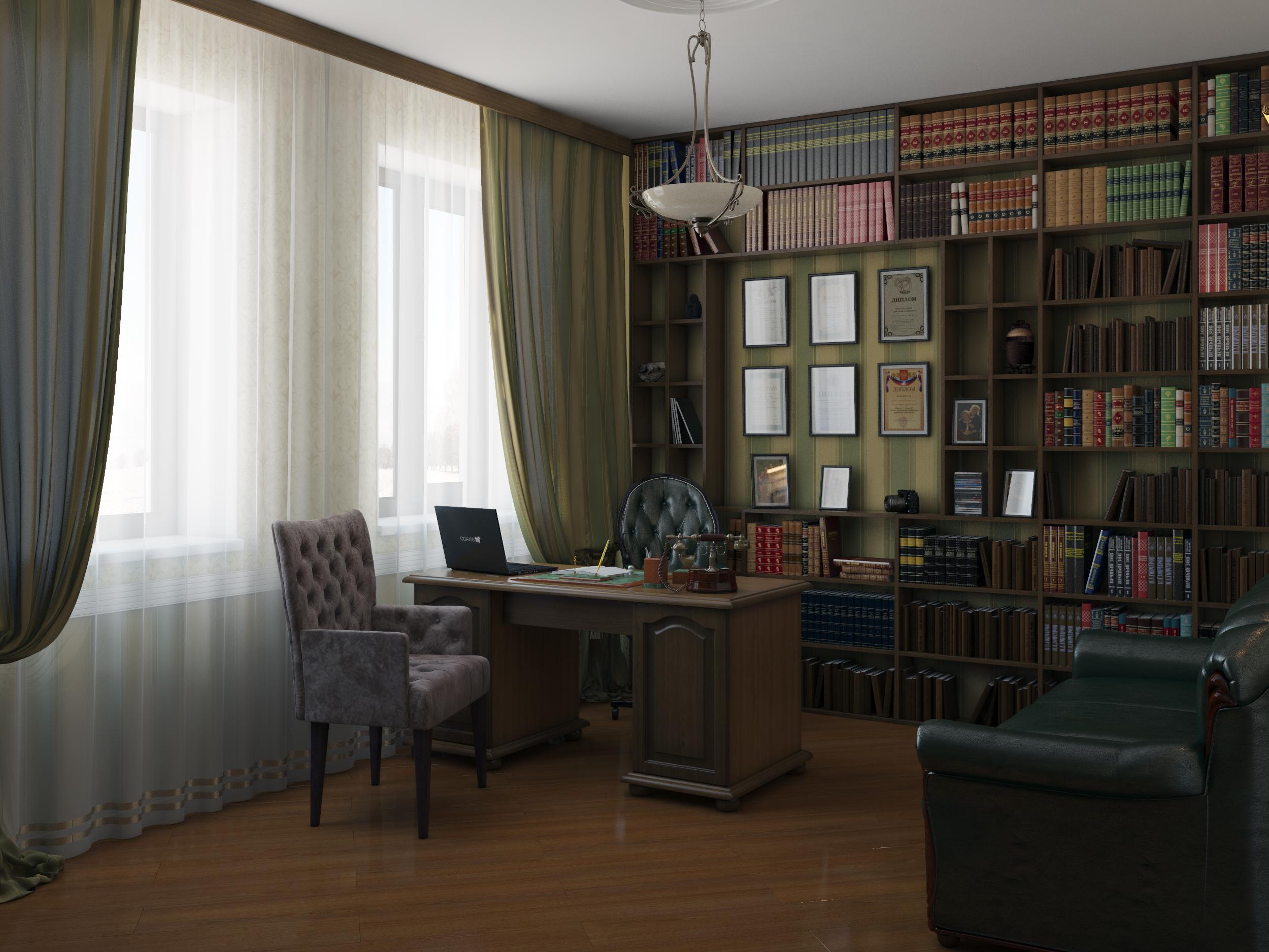 интерьер кабинета хозяина дома