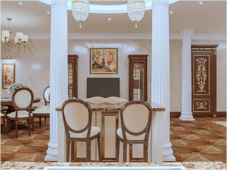 Кухонный остров с барными стульями