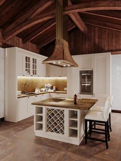 Кухонный остров, латунная вытяжка