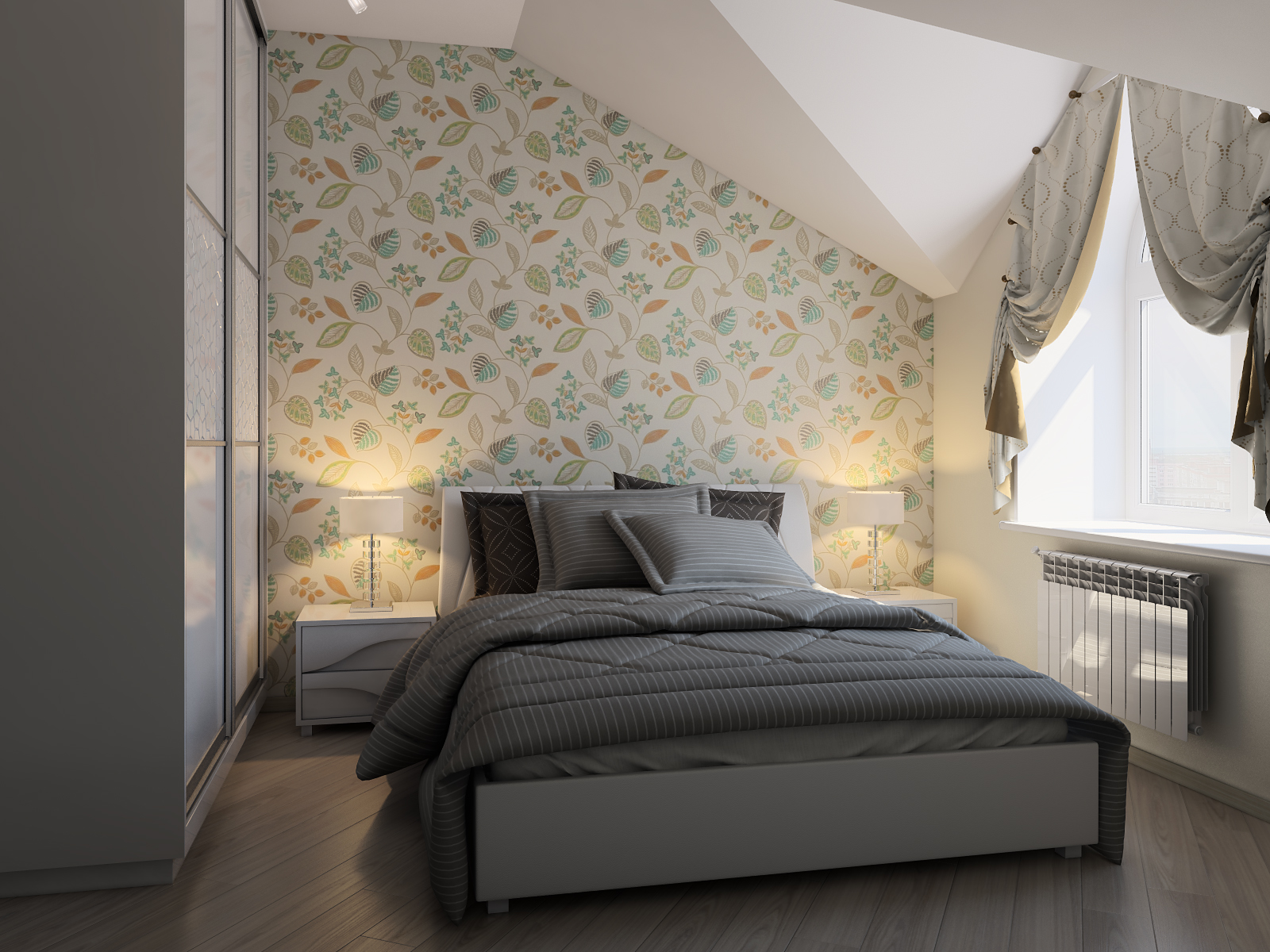 дизайн спальной комнаты на мансарде