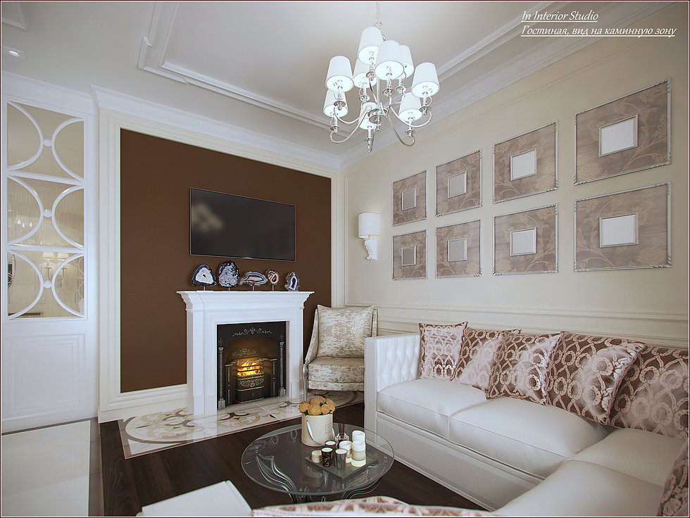 In interior Studio Гостиная, вид на каминную зону