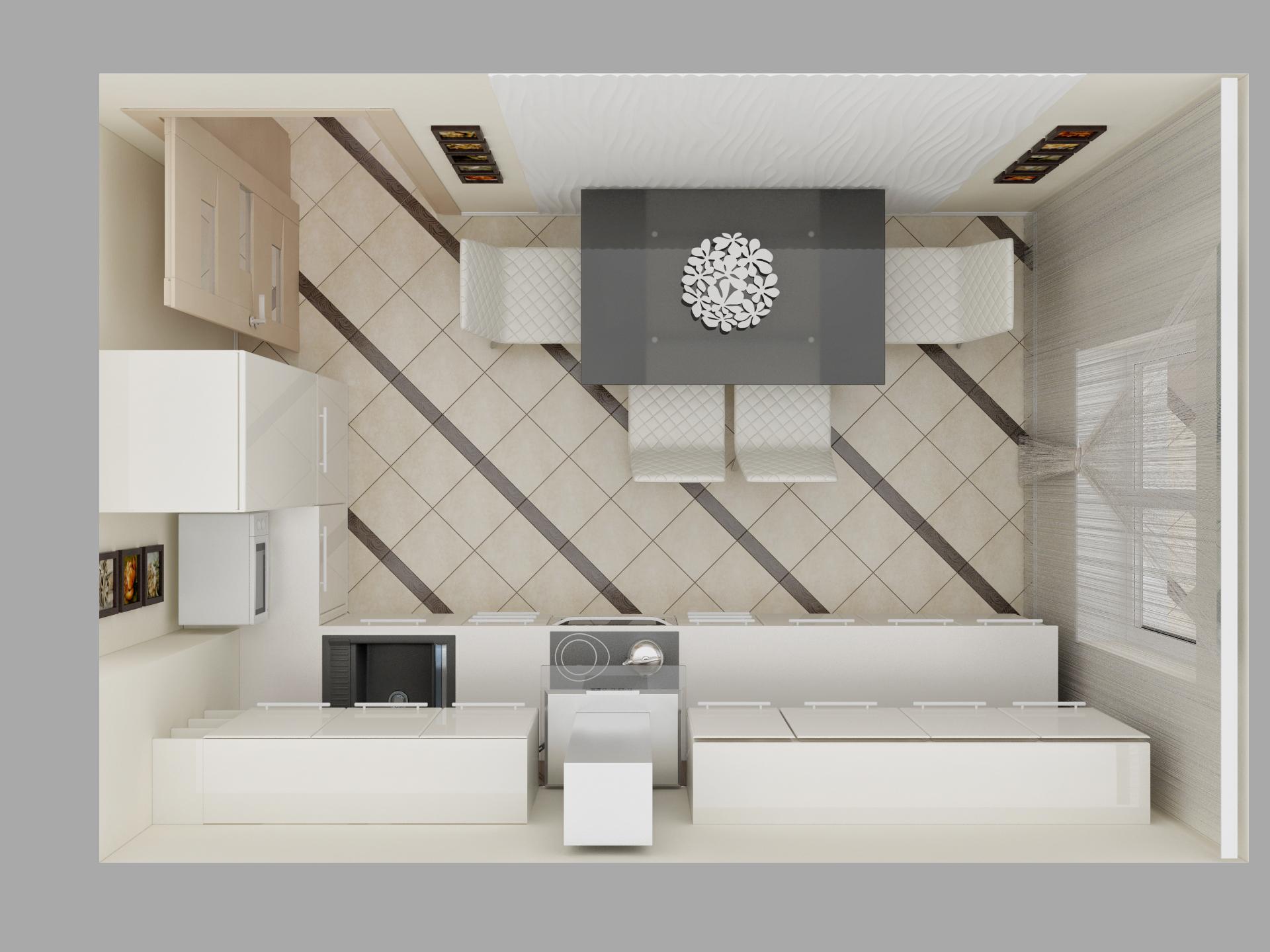 Вид сверху 3d эскиза кухни
