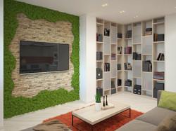 интерьер гостиной с панно