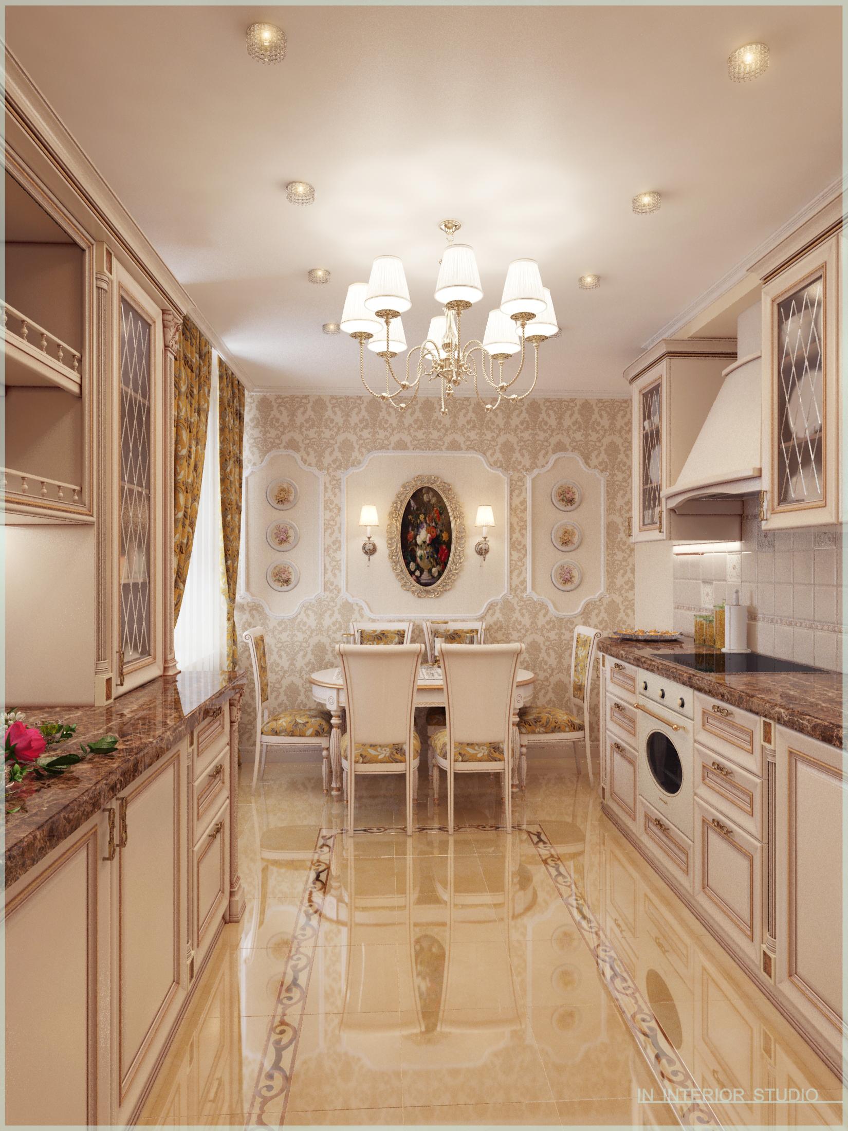 Кухня, двухстороннее расположение кухонного гарнитура