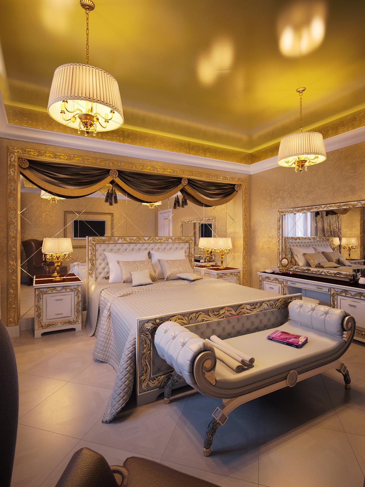 спальная комната в золотых тонах