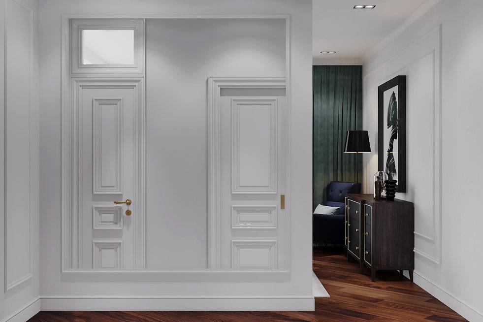 Зеркало в проходном пространстве спальни. Американская классика.