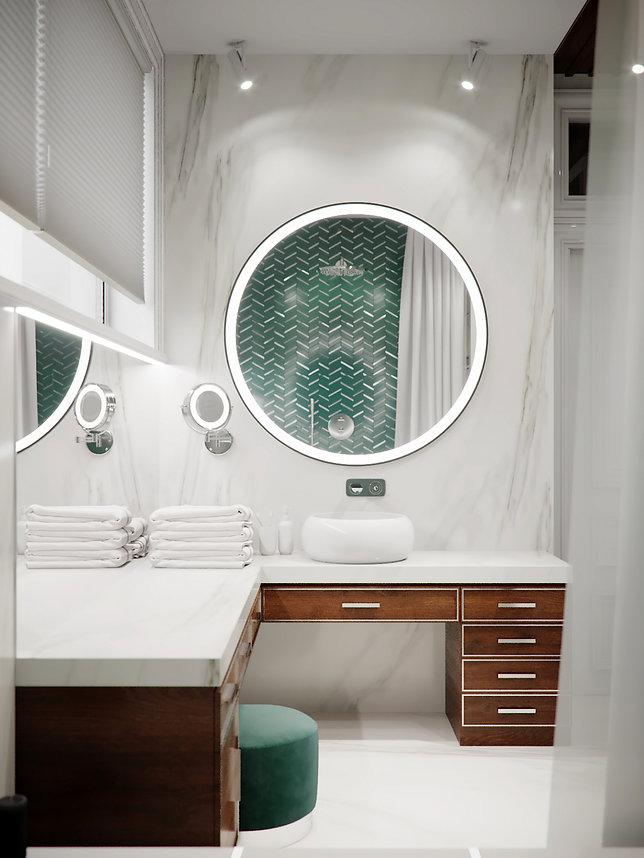 Вид на раковину в ванной комнате. Американская классика.