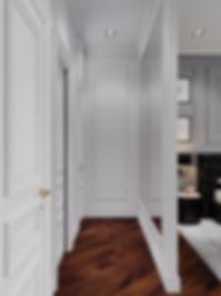 Вход в гардероб и ванную комнату. Американская классика.