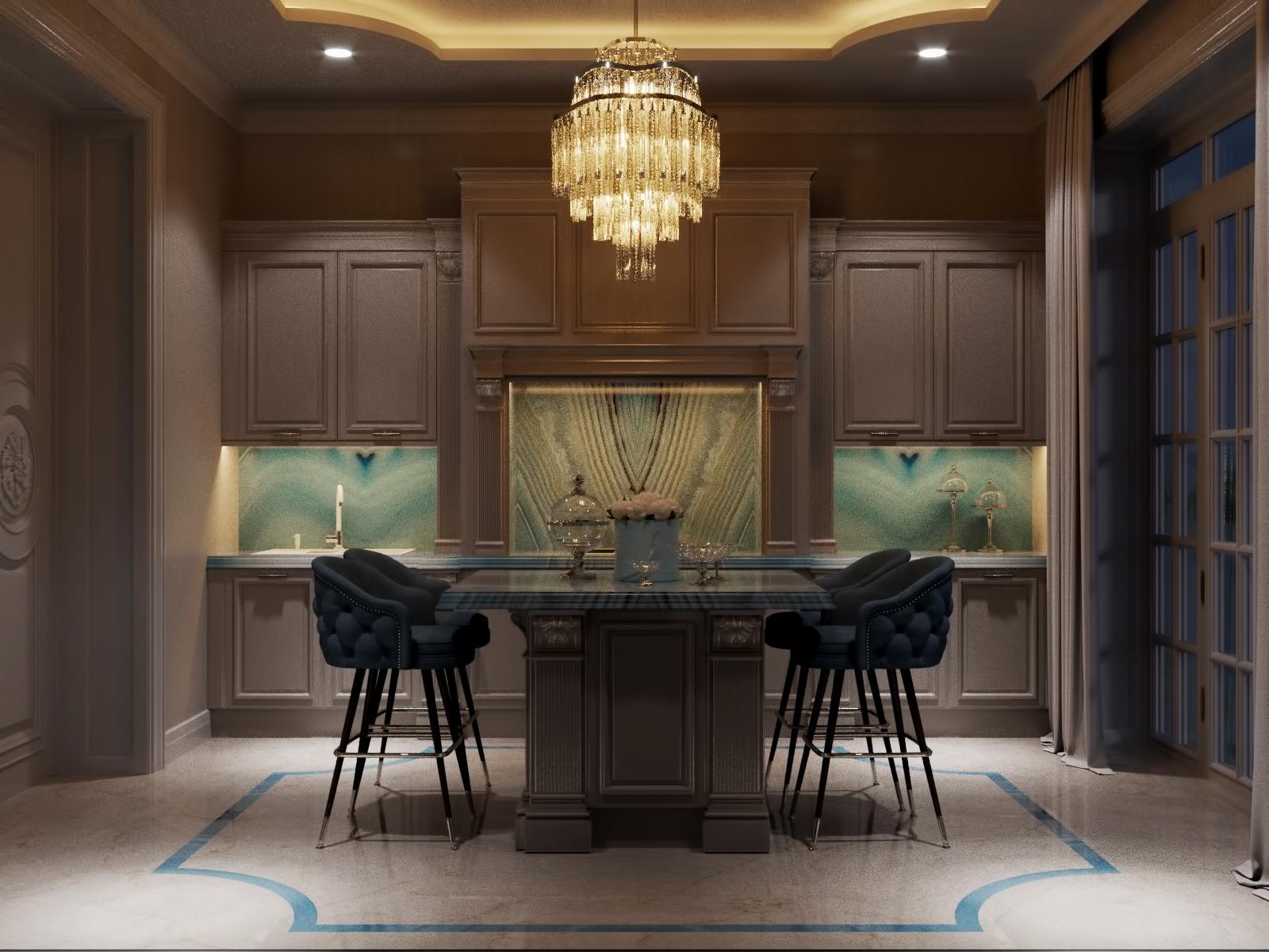Кухонный гарнитур, вечерний вид