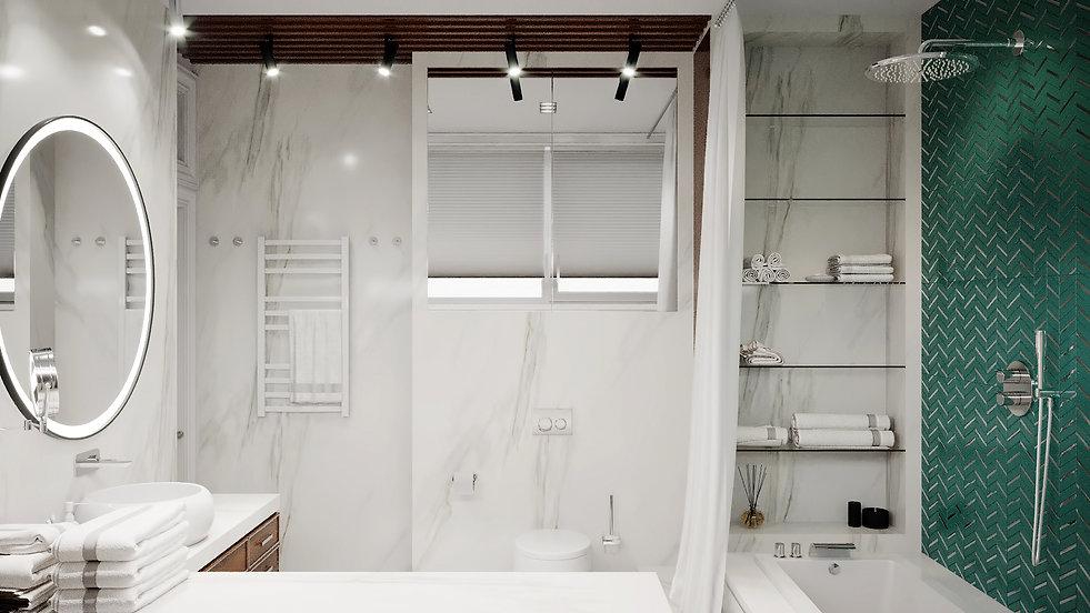 Ванная комната. Обзорный вид. Американская классика.