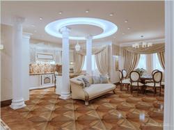 Обзорный вид на гостиную, кухню, столовую