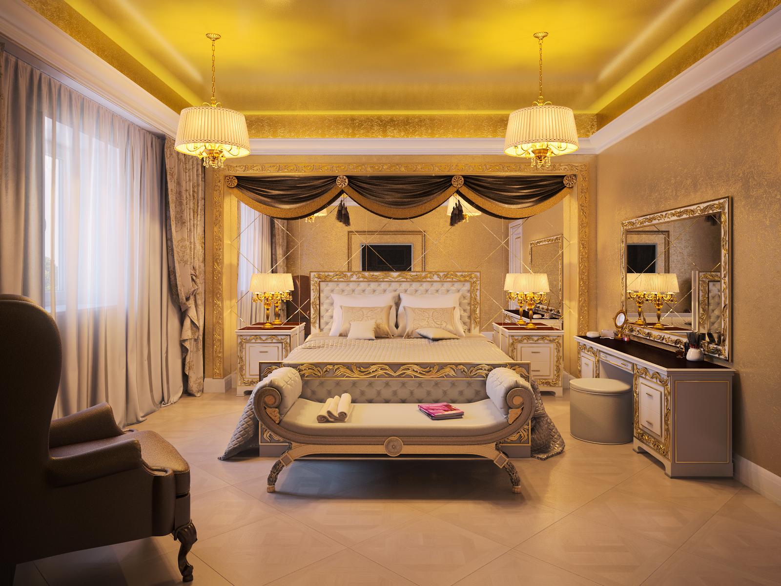 спальная комната в золоте