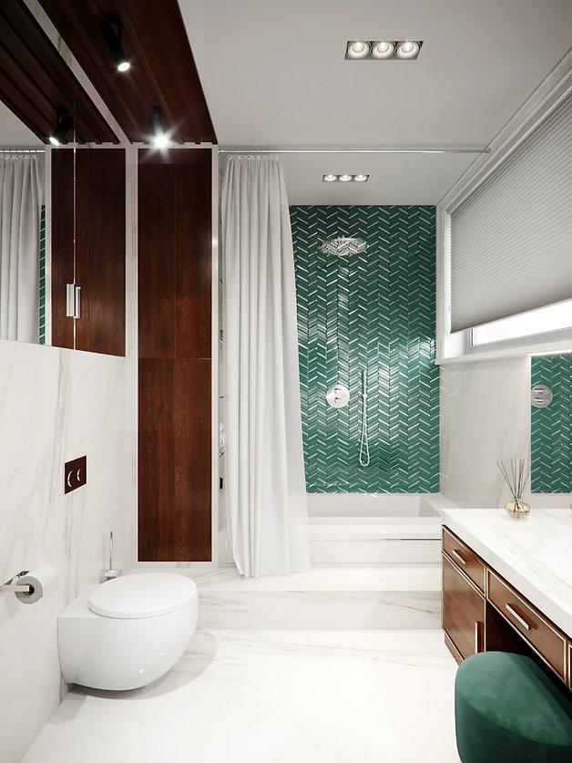 Ванная комната в спальне. Американская классика.