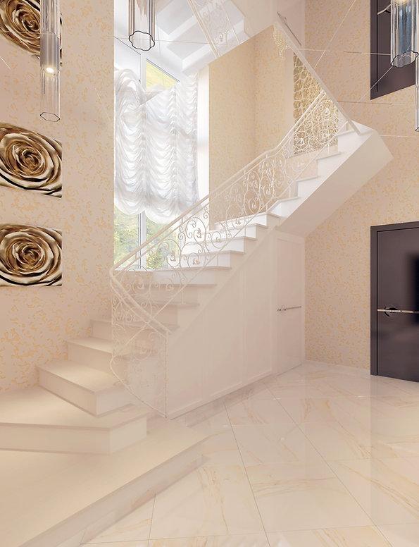 Дизайн лестничного холла в частном доме от In Interior Studio