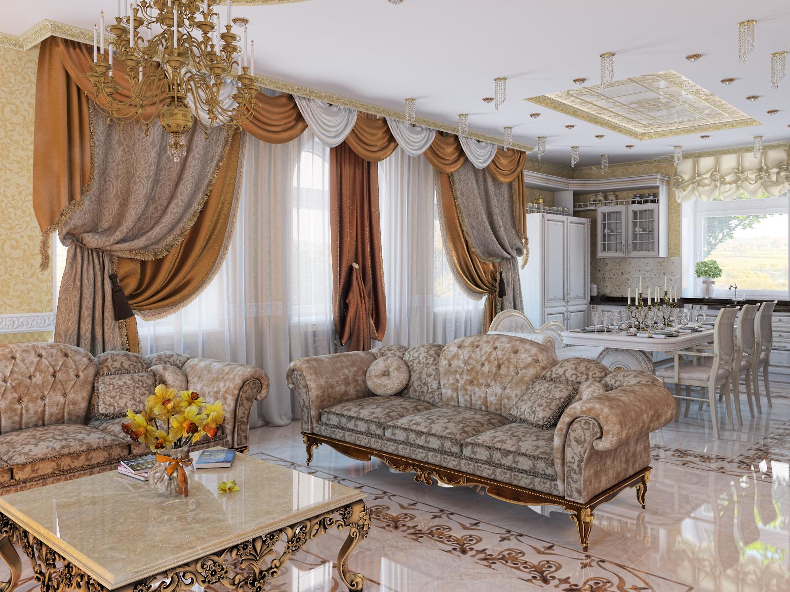 визуализации гостиной в коттедже