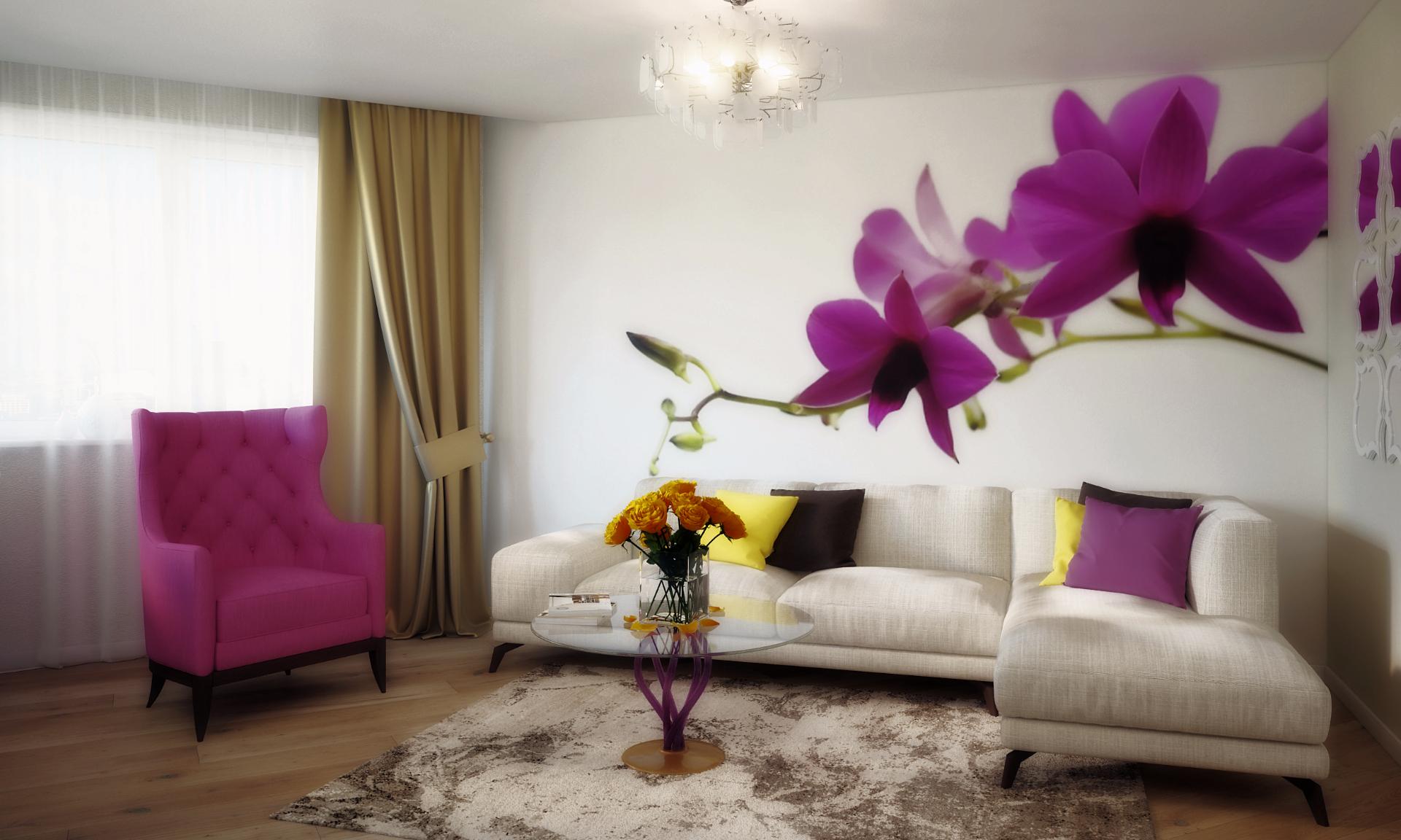 гостиная в цветочных тонах