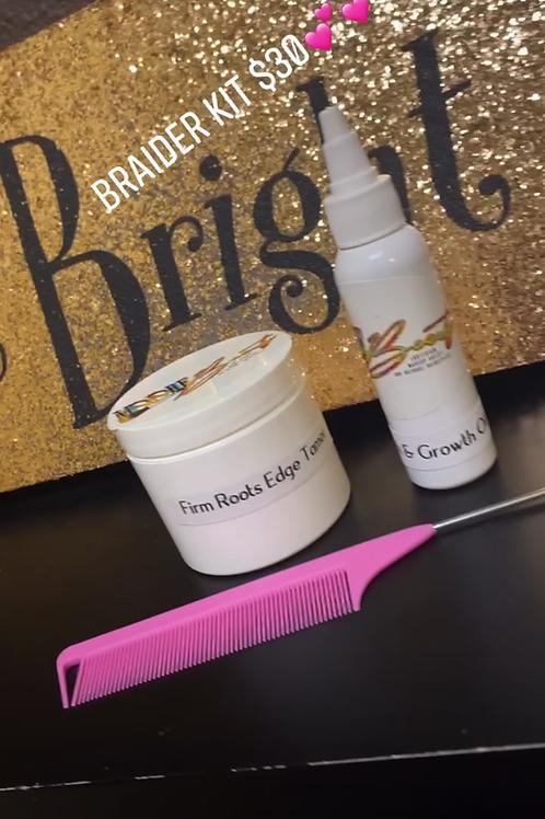 Braider Kit includes , edge tamer , oil,& Braider comb