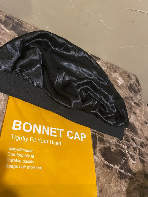 Black Satin Bonnet