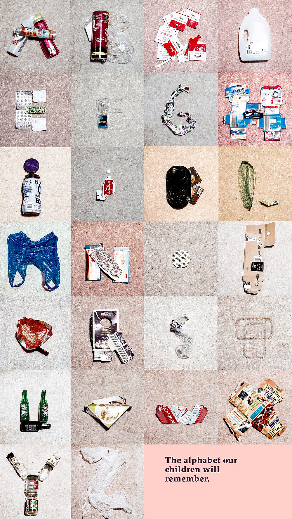 the alphabet our children will remember, environment, plastic, waste, camille obligis, advertising campaign