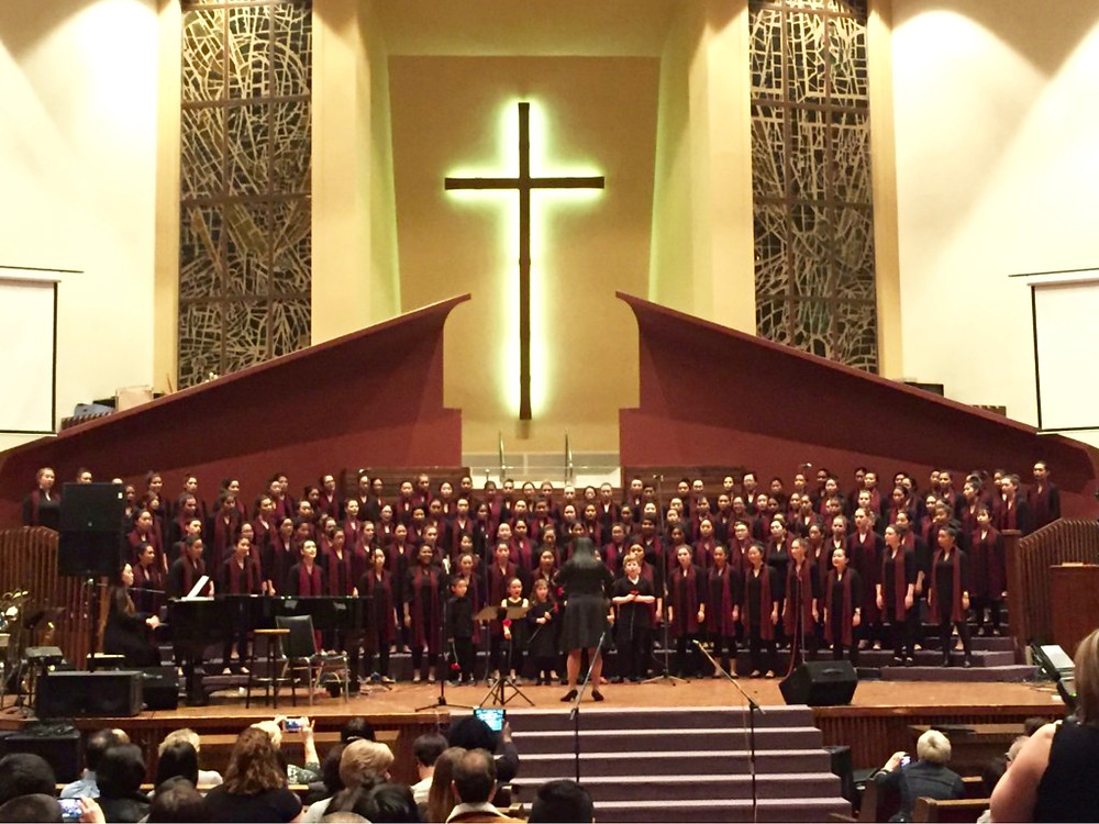 An action shot with LFA Concert Choir