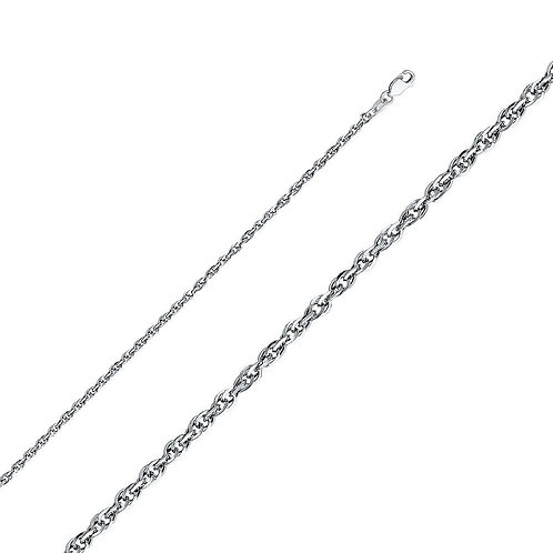 14K White Gold 2.7-mm Double Link Hollow Rope Chain