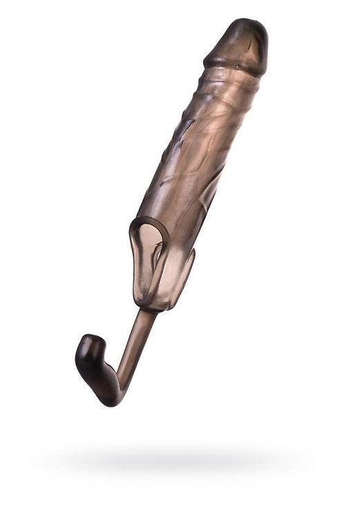 """Κάλυμμα Πέους """"Toyfa XLover""""  Με Πρωκτική Προέκταση (14cm) - Διαφανές Μαύρο"""