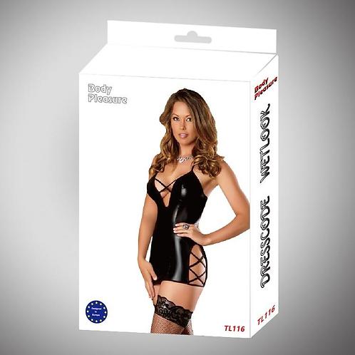 Σέξι Wetlook Φόρεμα - Μαύρο
