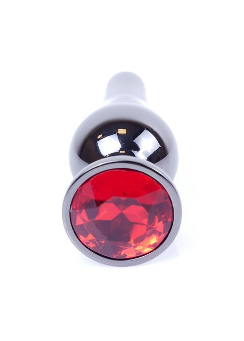 Πρωκτική Κωνική Σκούρα Ασημένια με Κόκκινο Κόσμημα-9,5cm