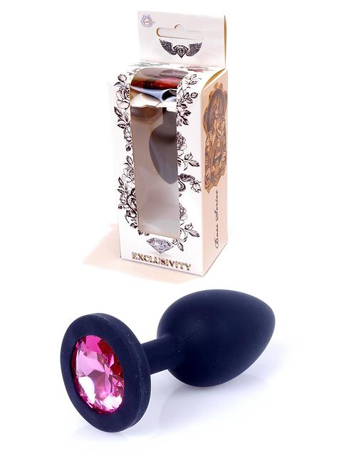 Πρωκτική Σφήνα από Μαύρη Σιλικόνη με Ροζ Κόσμημα (Small)-7cm