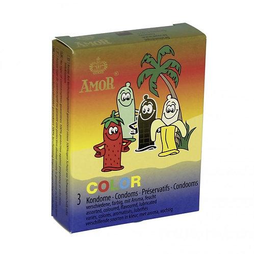 Προφυλακτικά σε Διάφορα Αρώματα και Χρώματα Amor (3 τεμάχια)
