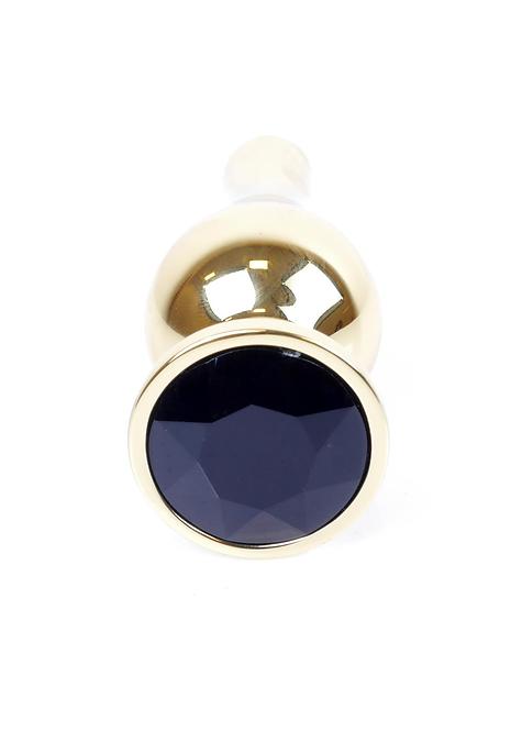 Πρωκτική Κωνική Χρυσή Σφήνα με Μαύρο Κόσμημα-9,5cm