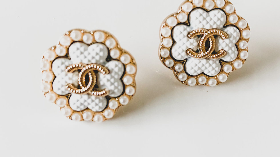 White Pearl CC Earrings