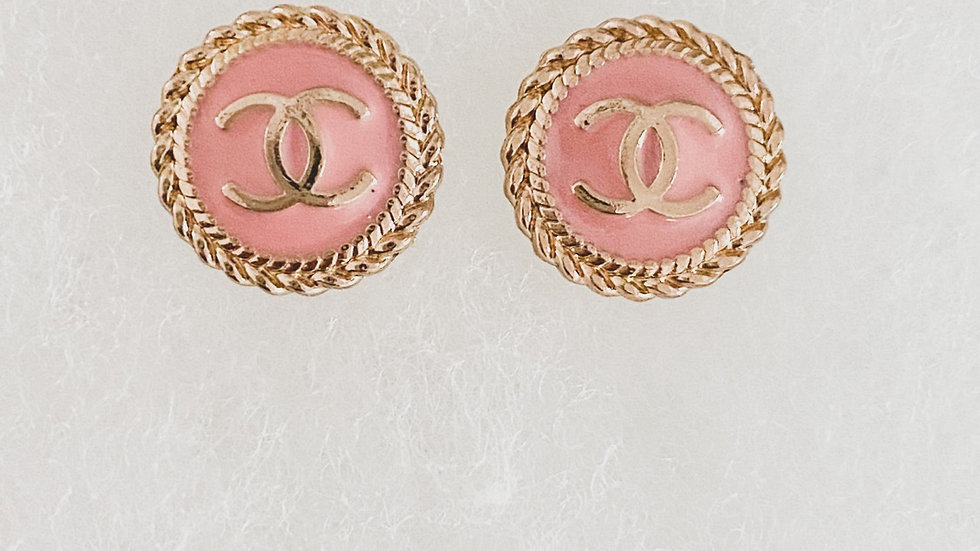Pink Buttons CC Earrings