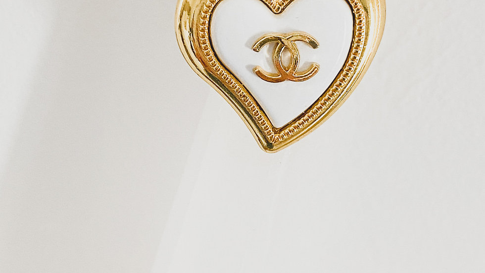 Gold CC Heart Ring