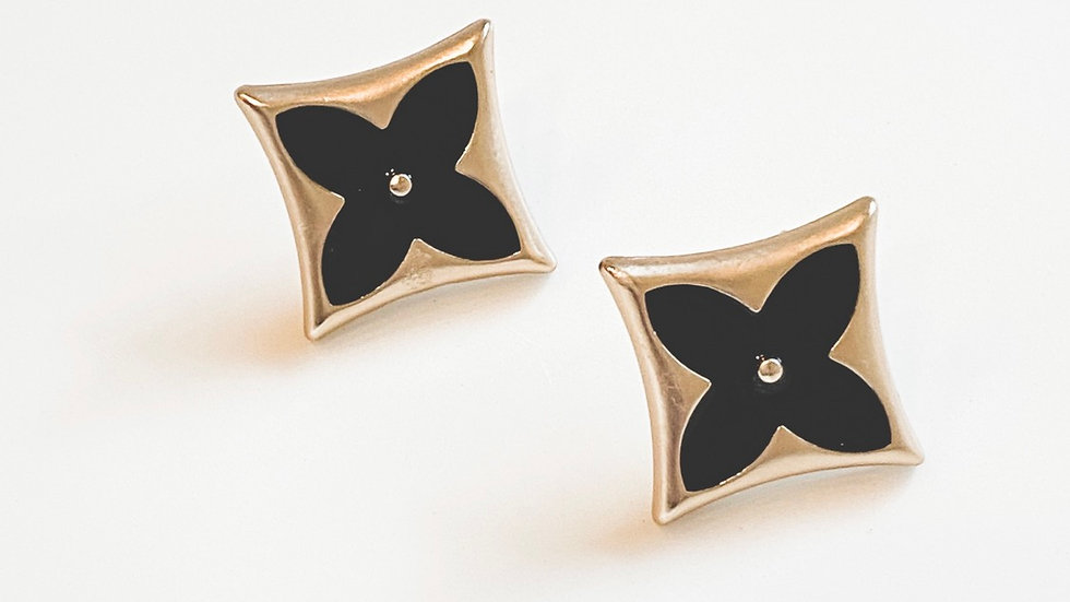 Black LV LaFleur Earrings
