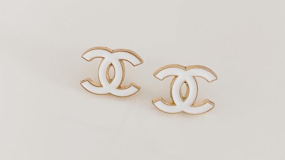 Classic White CC Earrings