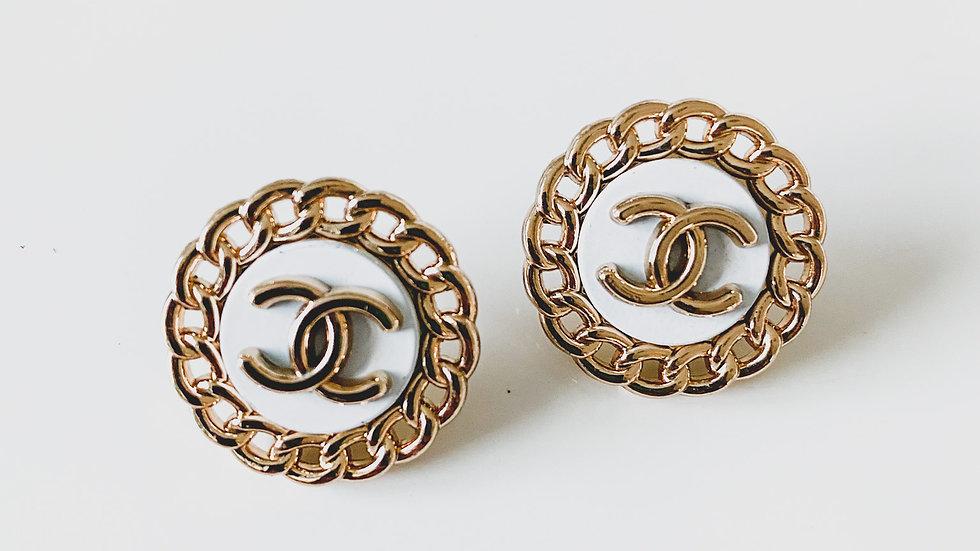 White & Gold CC Earrings