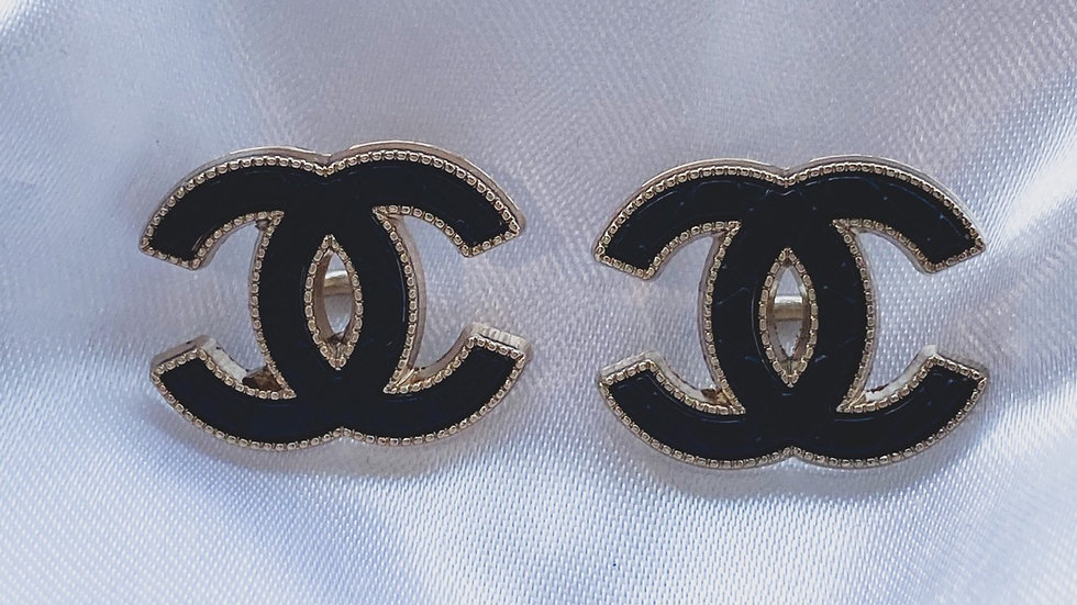CC Black Quilted Earrings