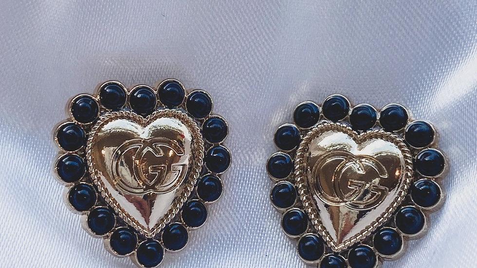 Gucci Black Heart Earrings