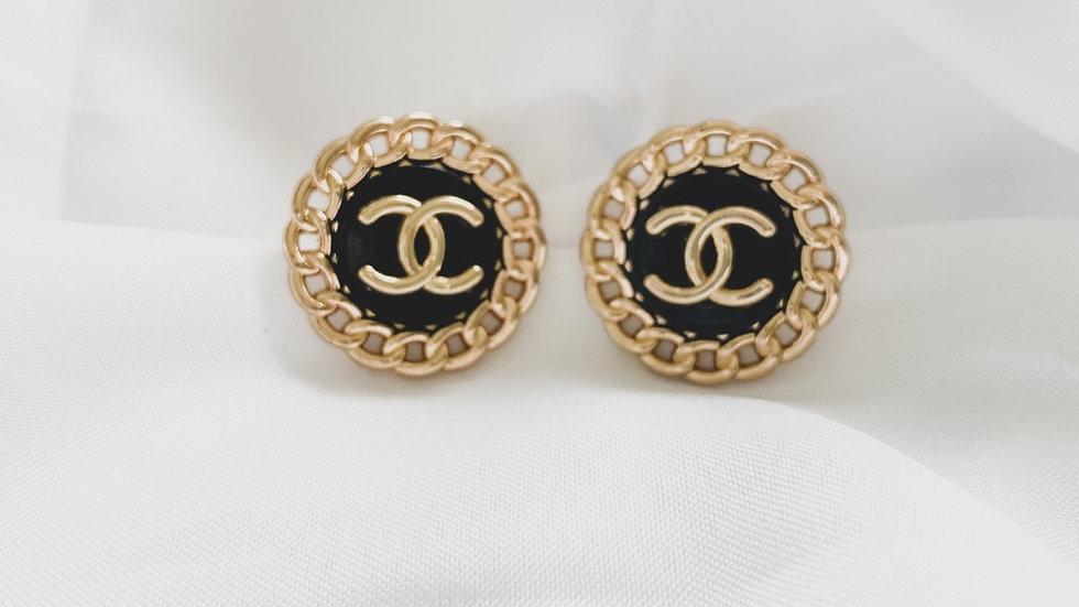 Round Black CC Earrings